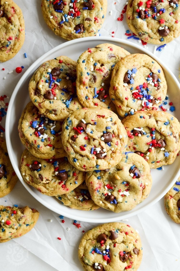 Thick & chewy chocolate chip cookies recipe filled with festive sprinkles -- perfect for any occasion!