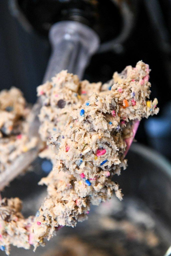 Closeup shot of edible cookie dough recipe being mixed in mixing bowl