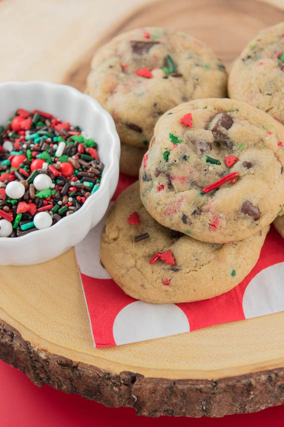 Lumberjack Christmas Chocolate Chip Cookies! Thick & chewy chocolate chip cookies filled with festive sprinkles -- perfect for any occasion!