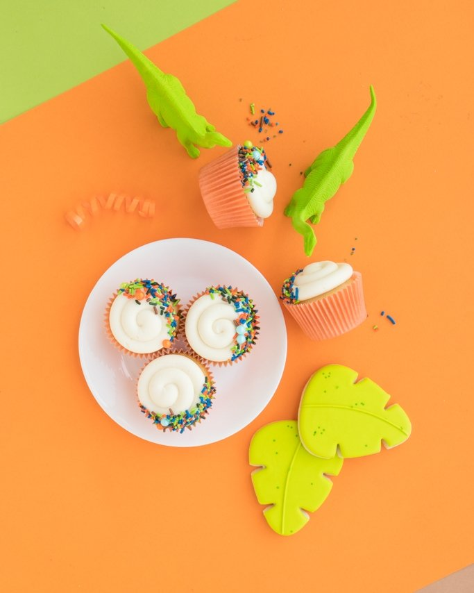 Dinosaur Cupcakes - Dino Cupcakes on orange background