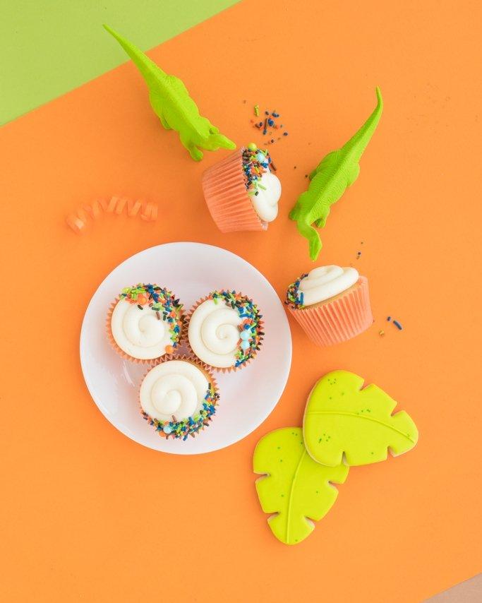 Dinosaur Cupcakes - Dino Cupcakes on orange background