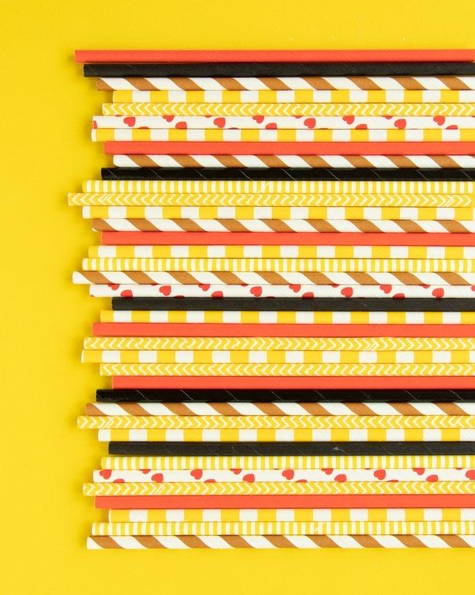 Assorted Emoji Paper Straws Mix on yelllow background