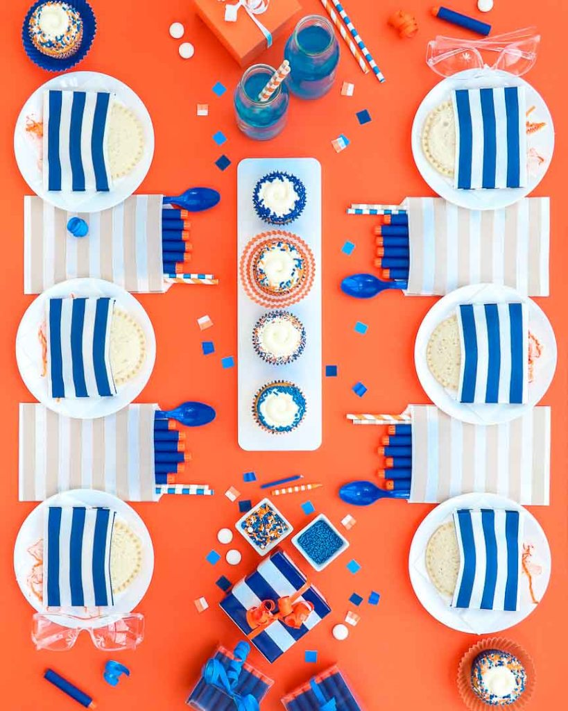 Nerf Party Supplies - 6 place setting of nerf darts, pbj uncrustables, blue party drinks and more.