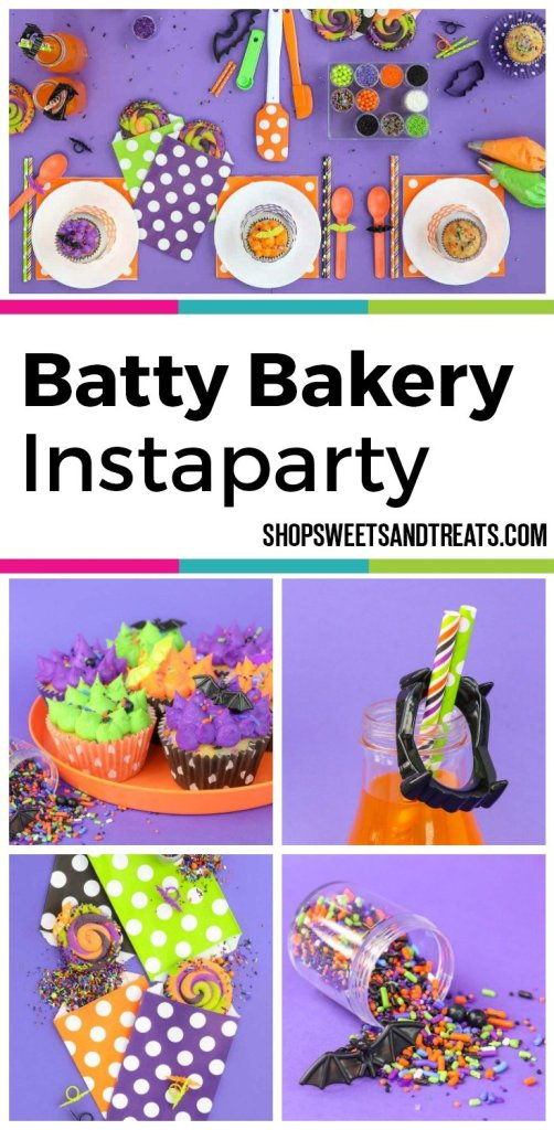 Halloween Party Ideas - Batty Bakery Sweetscape Instaparty - Featuring our Monster Mash sprinkles along with spooky cute Halloween party touches. Our Batty Bakery party theme has a whimsical feel and fun bright colors for the perfect class Halloween party!