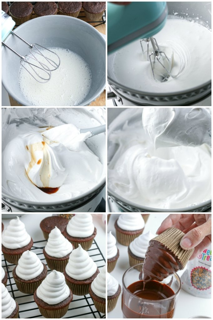 high hat cupcakes recipe steps in collage