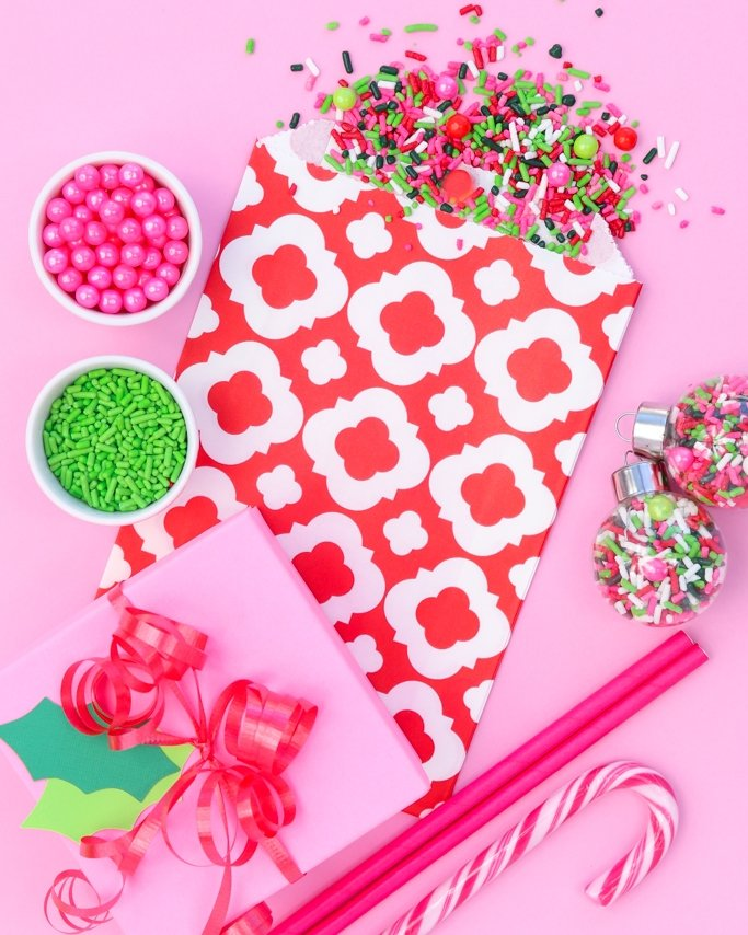 Christmas Party Ideas - Christmas sprinkles in modern colors on pink background.