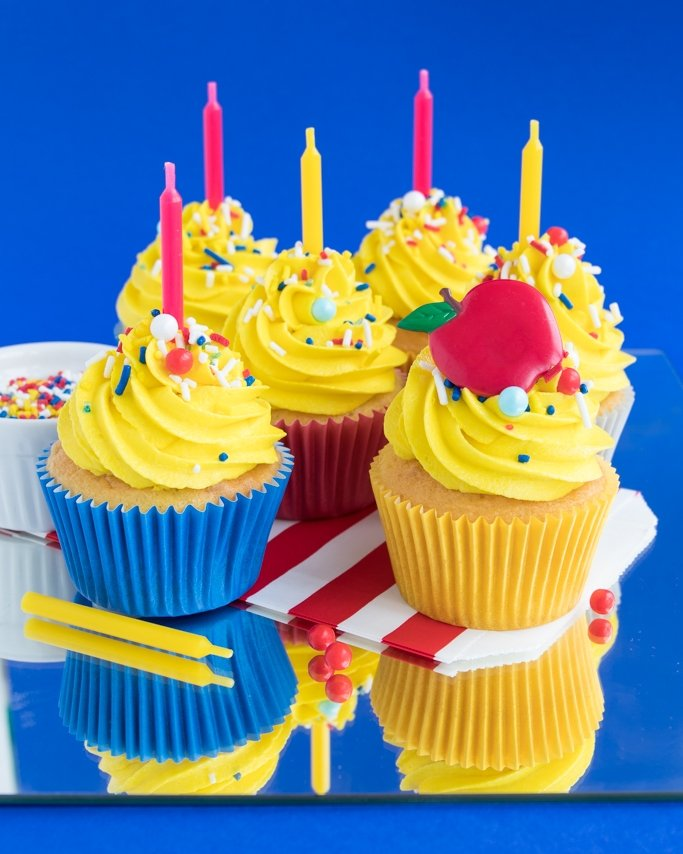 Snow White Party Ideas - Cupcakes topped with Bad Apple Snow White Party Sprinkles
