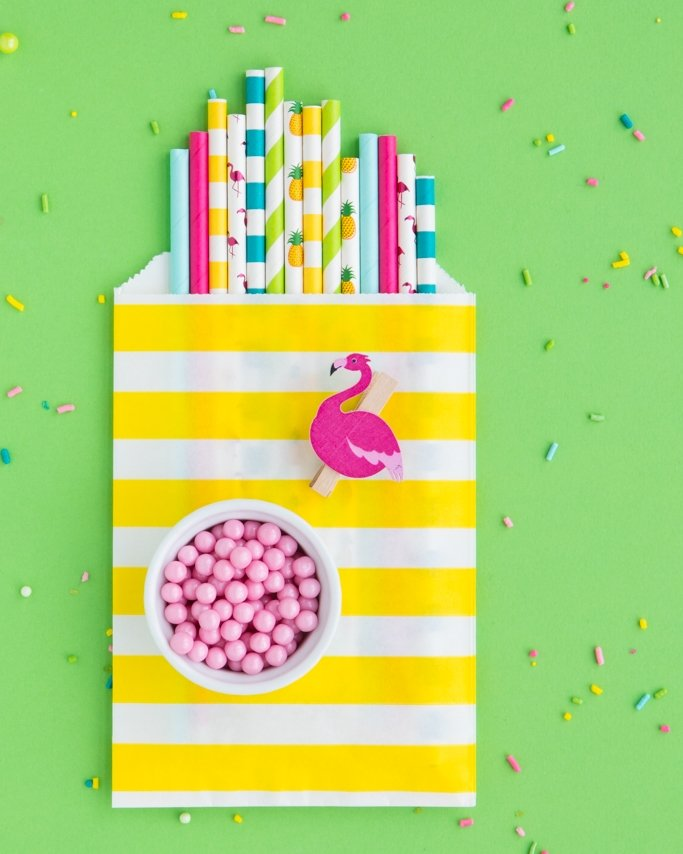 Luau Party Ideas - Tropical pineapple, flamingo, and summer paper straws