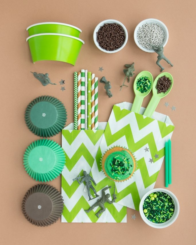 camo sprinkles and camo party supplies