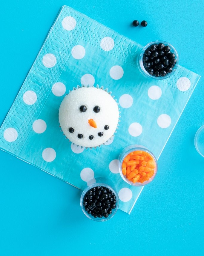 almost finished snowman cupcakes for christmas