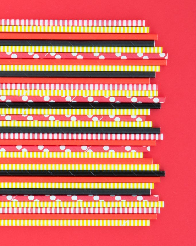 Mickey Mouse Party Paper Straws assorted on red background
