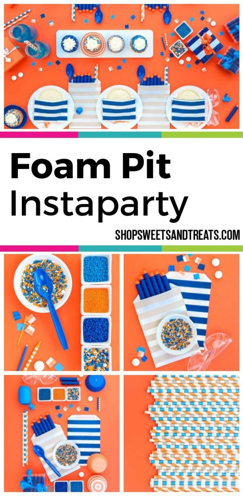Nert party ideas collage with blue and orange theme - Nerf Party Ideas - Nerf Party Supplies