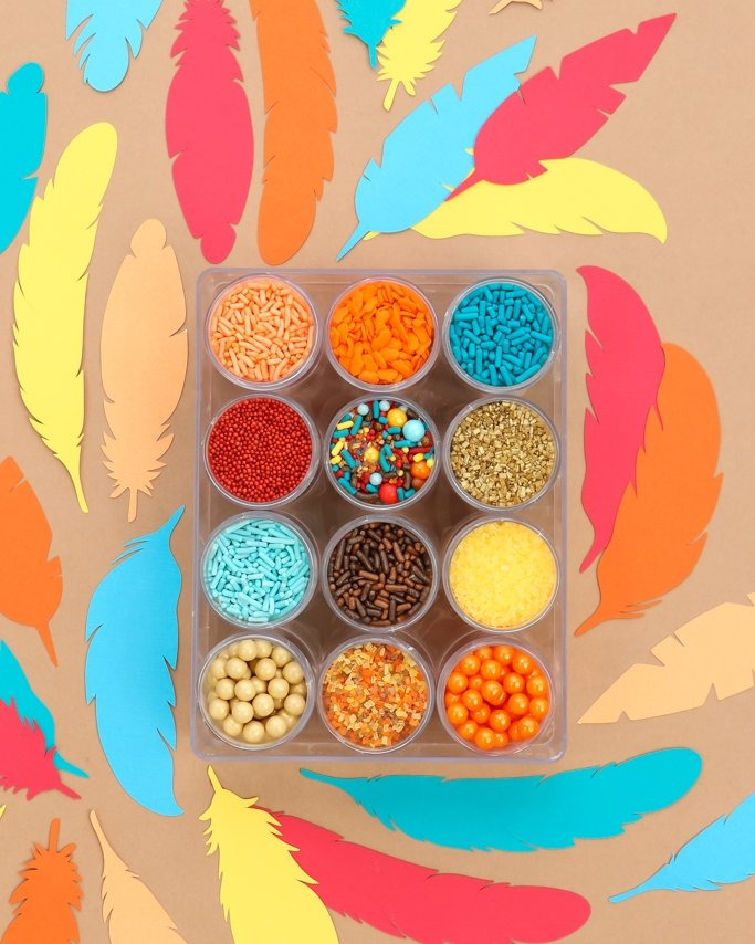 Fall Thanksgiving Sprinkles Mix Kit - Great for your Thanksgiving parties! With pops of peach, orange, teal, brown, and gold - it's the perfect colors for Autumn celebrations!