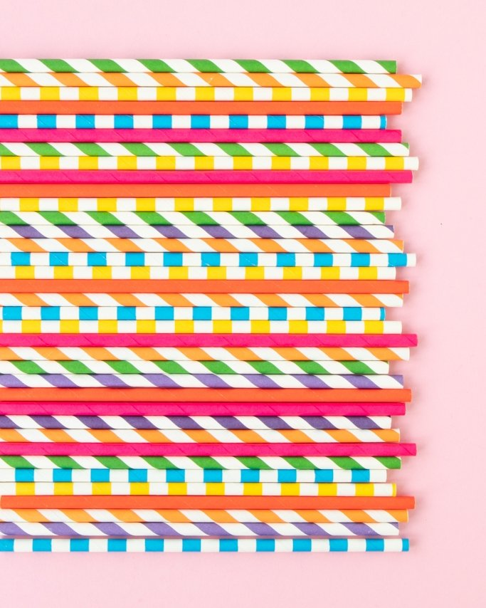 bold, colorful assorted rainbow party paper straws