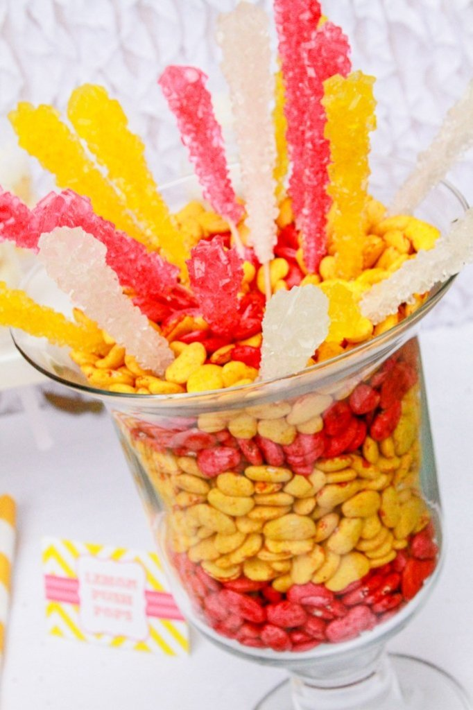 Pink Lemonade Party Decor - DIY colored beans layered with rock candy sticks
