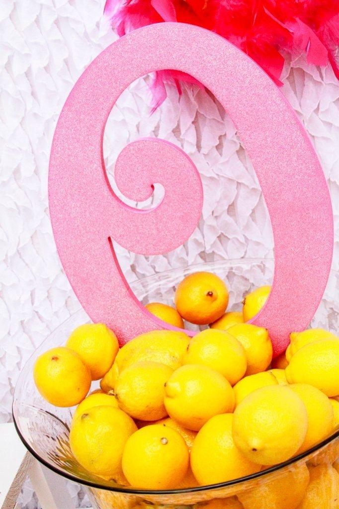 Pink Lemonade Party Decor - Lemons in glass hurricane