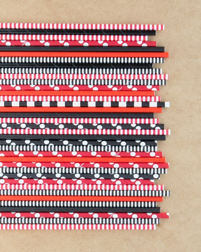 Pirate Party Paper Straws assortment on tan background