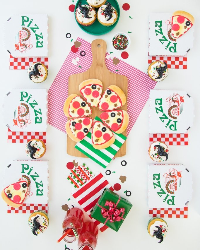 Pizza party ideas - pizza table top with tiny pizza box favors and pizza cookies