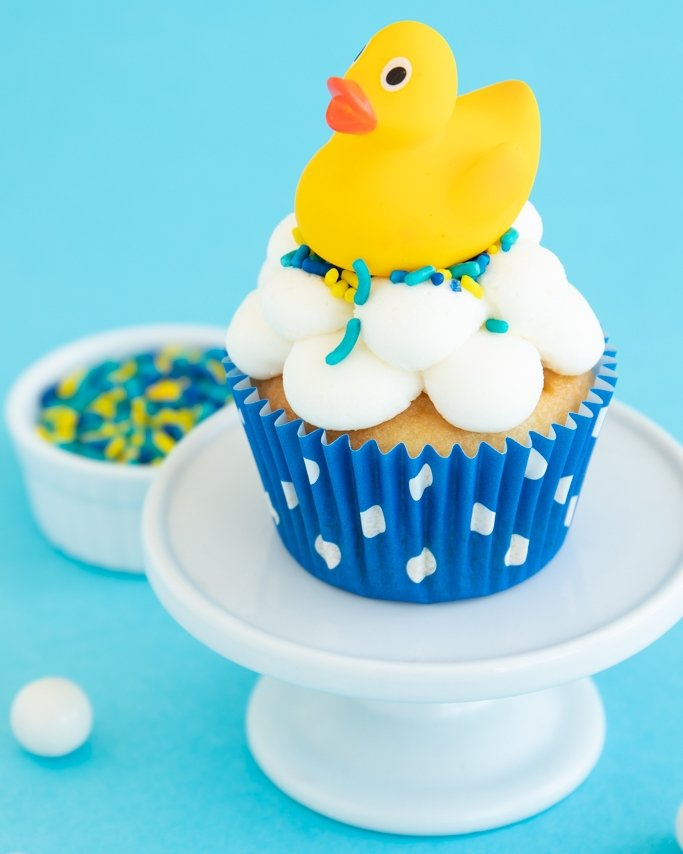 Rubber Ducky Baby Shower Cupcakes with bubble cupcake frosting