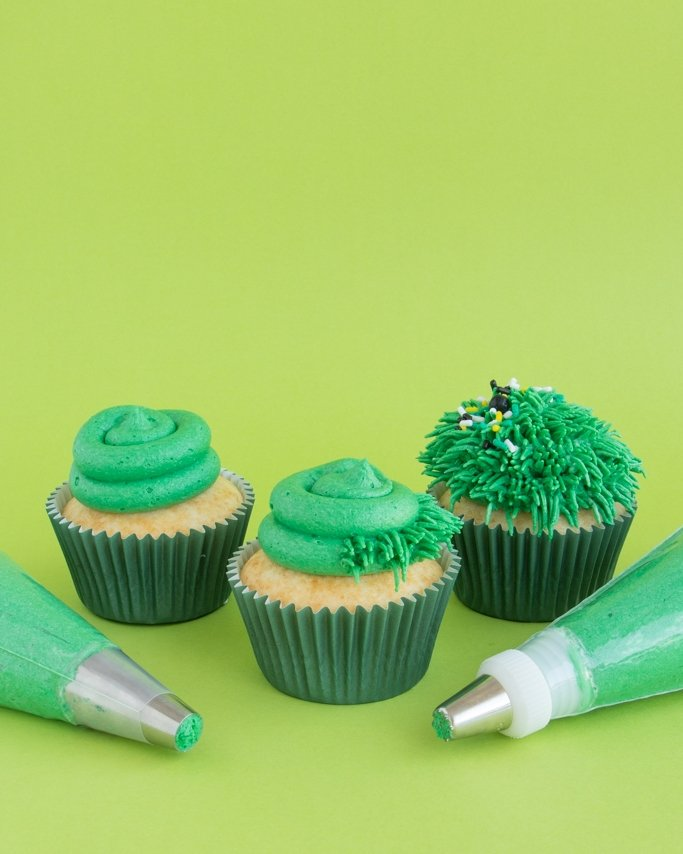 Tractor Cupcakes - Grass cupcakes on lime green background