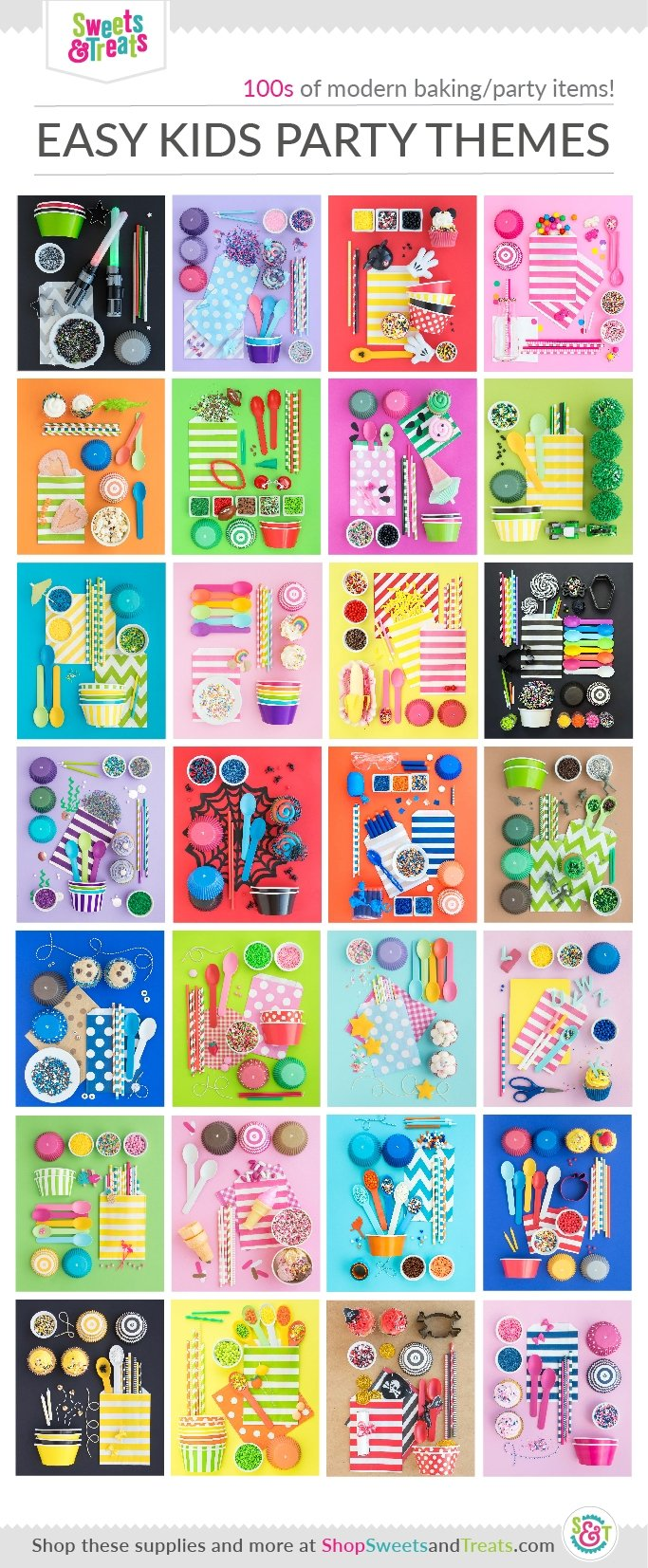 Easy Kids Birthday Party Ideas - Party Themes for Kids Collage using hundreds of Sweets & Treats party supplies