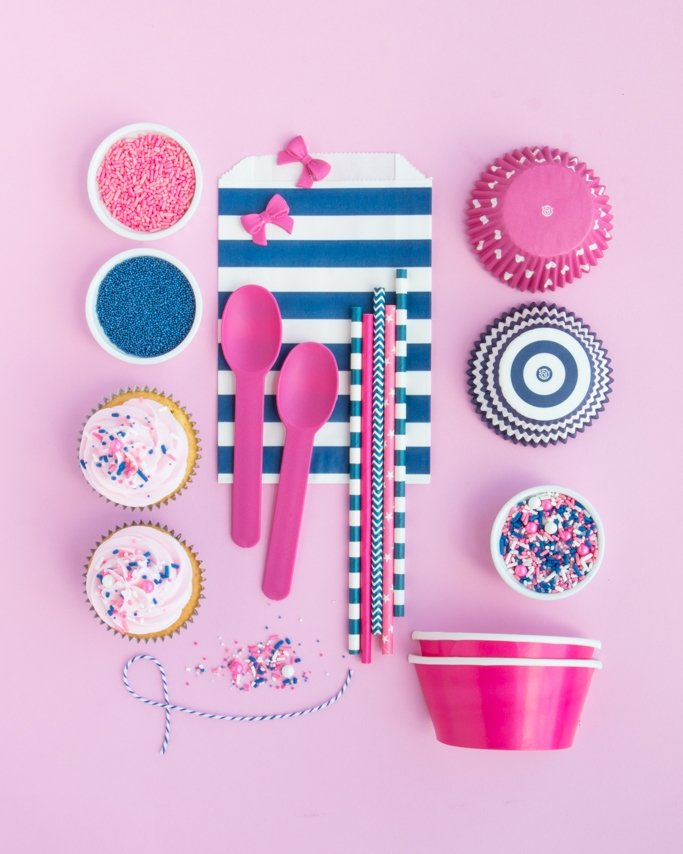 Navy & Pink Nautical Party Supplies on pink background