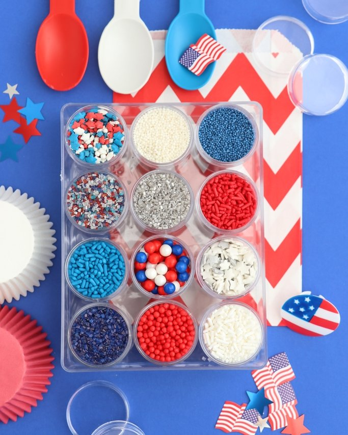 Red, white, and blue sprinkle mix kit. Patriotic sprinkles