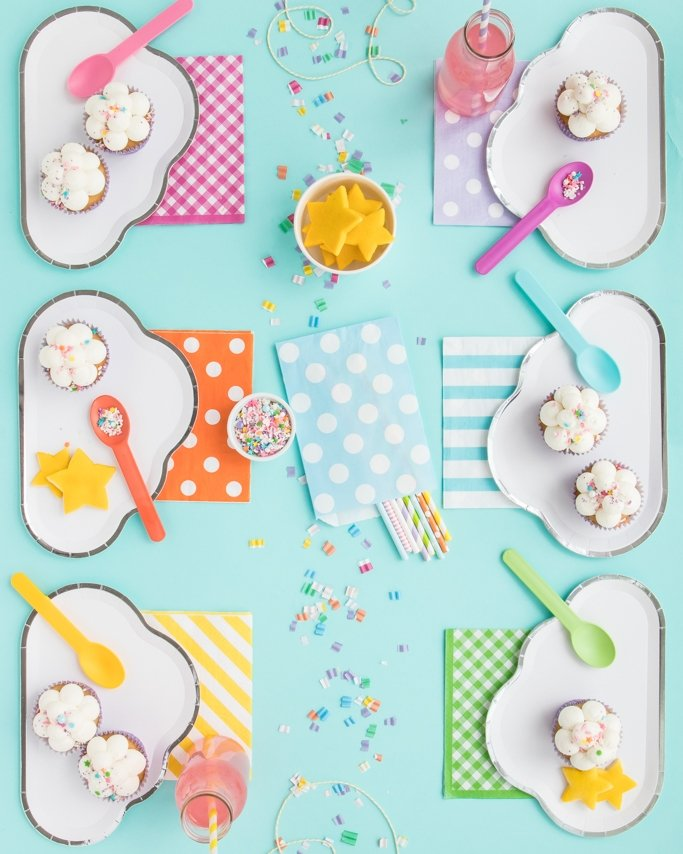 Sleepover Party Ideas - Pajama Party Ideas - Slumber Party Ideas - cloud plates, star cookies, and lots of clouds