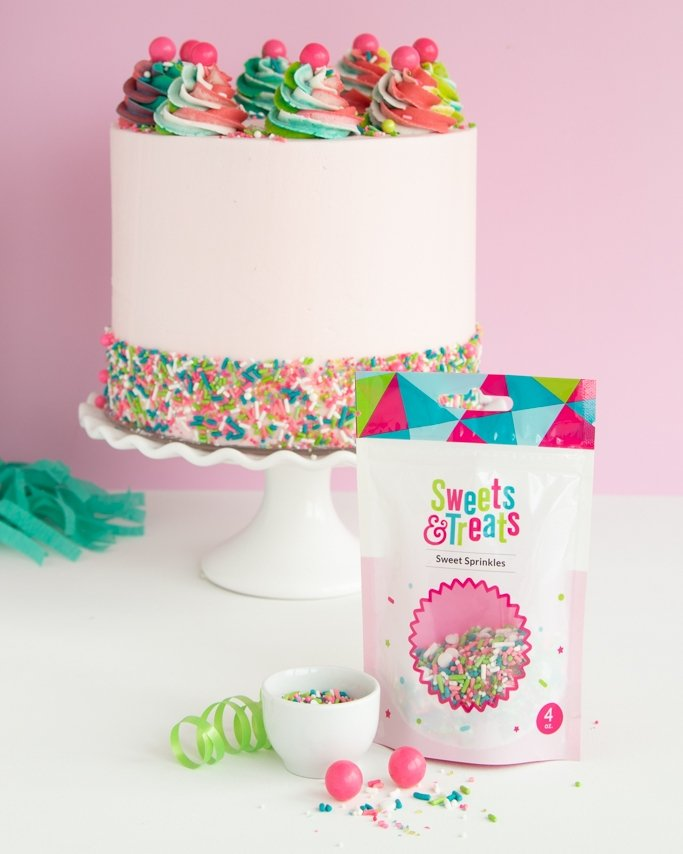 How many sprinkle bags will I need to cover a sprinkle cake?