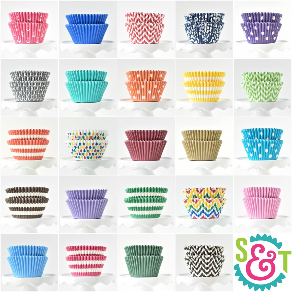 BakeBright greaseproof cupcake liners collage in colorful party supplies colors