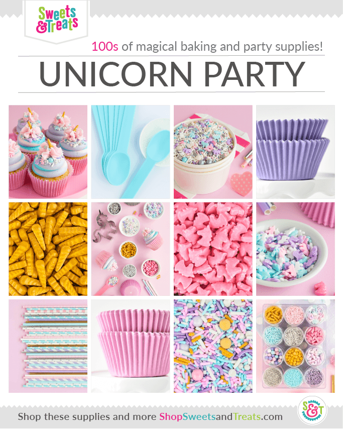Unicorn Party Supplies grid for upcoming unicorn party ideas using pastel party supplies and unicorn sprinkles