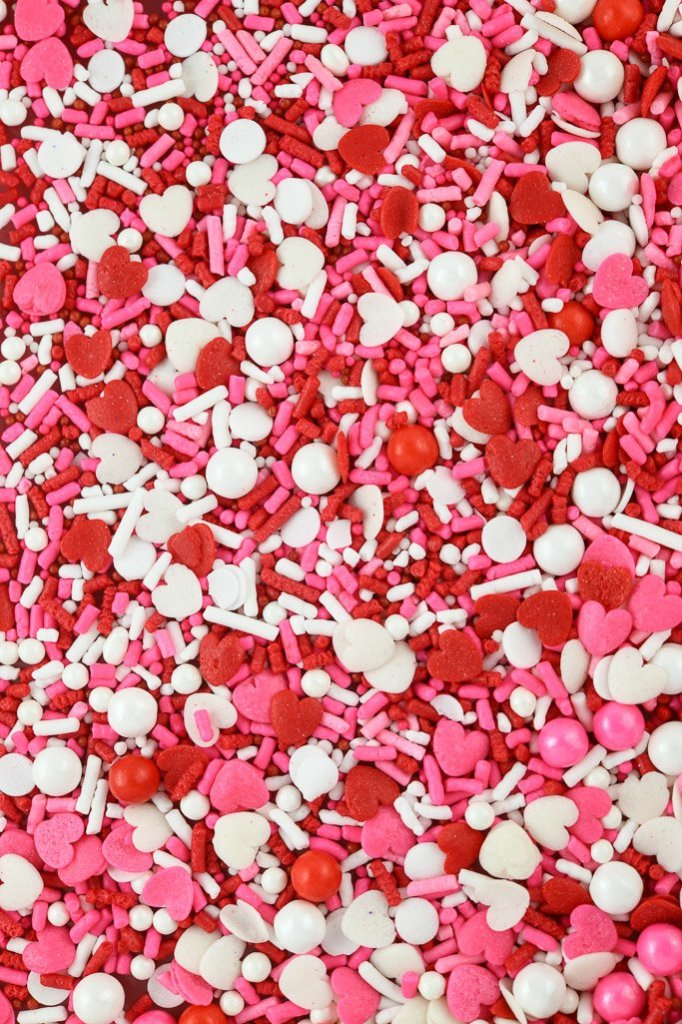 Love Boat sprinkle mix - Valentine Sprinkles closeup picture