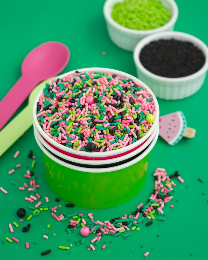 Watermelon sprinkles + party supplies.