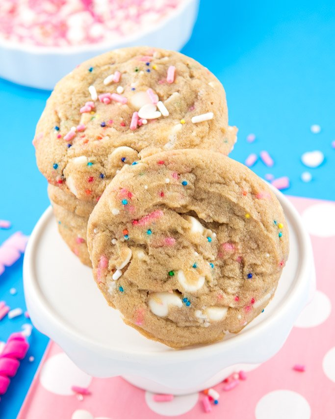 White Chocolate Chip Circus Cookies - These taste just like Macadamia Nut cookies just without the nuts. These cookies are thick and chewy and oh so colorful! With our Vegan Circus Cookie sprinkles, you are sure to love the colors all throughout the dough.