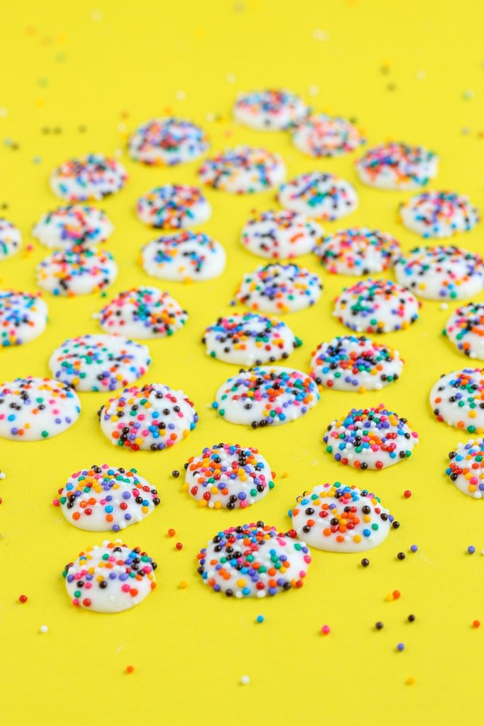Another view of the finished nonpareils candy!