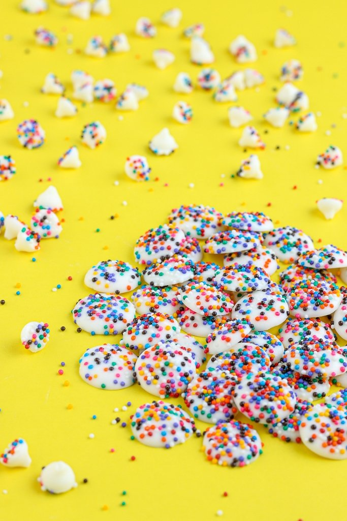 Here we see two different sizes of the finished homemade nonpareils candy.
