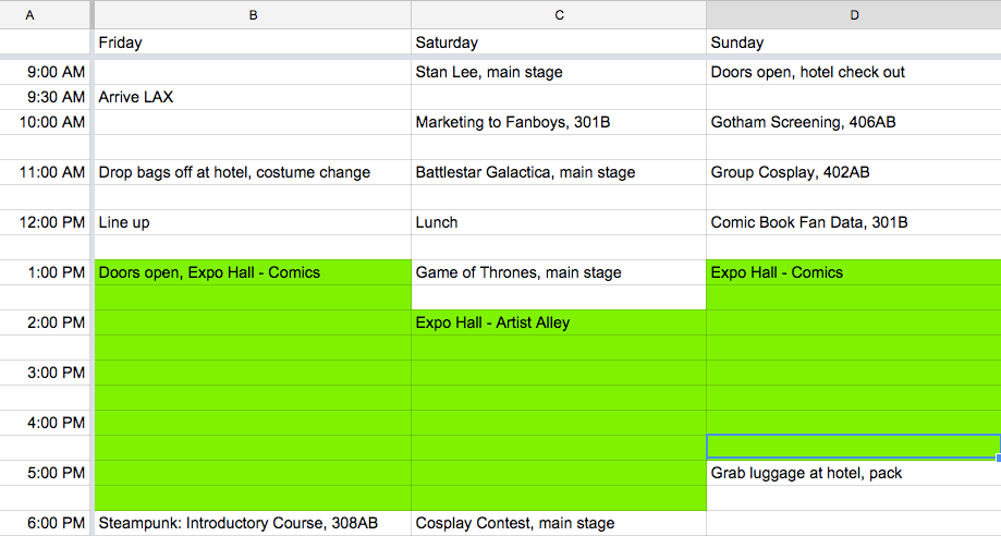 Sample spreadsheet schedule. Click to enlarge.