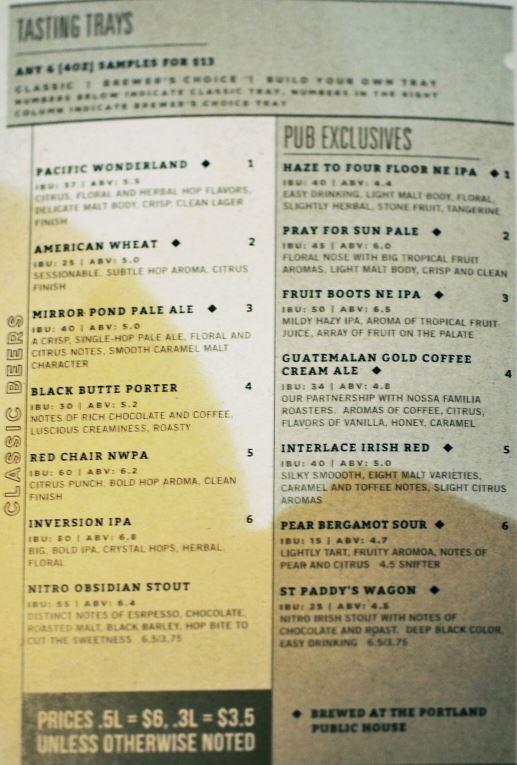 Deschutes Brewery Portland Public House のトレイのメニュー
