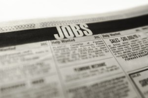 Classified ad job section in newspaper