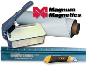 Flexible magnetic sheeting, Lasco Model 20 Cornerounder, Olfa knife, and Big Blue safety ruler