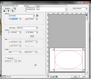 Fig 3: Set the User Size to Fit that in the Printer Driver. The Preview will show the cut area in one panel.