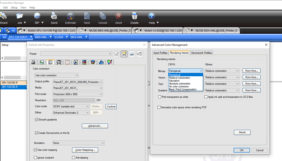 Flexi and LXI RIP Rendering Intents settings in Production Manager
