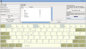 The Keyboard Layout Editor showing a layout