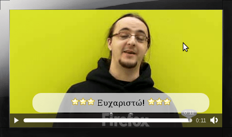 Mozilla 3.5 demonstrating video with Greek subtitles