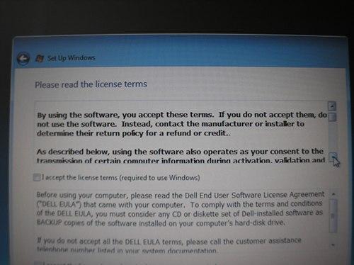 Microsoft Vista first boot screen, EULA or refund/credit.