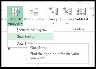 Excel Goal Seek Analysis 1
