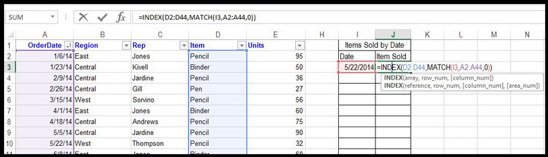 Excel Formulas INDEX MATCH 1