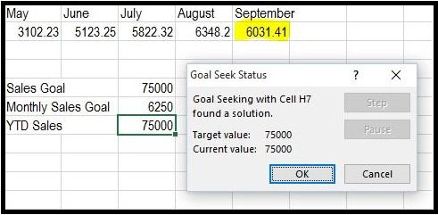 Excel Goal Seek Analysis 3