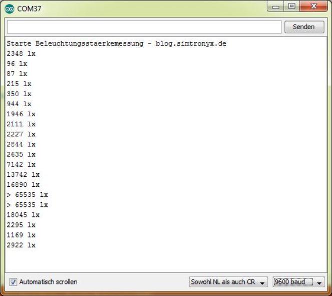 Medição de iluminância com um BH1750FVI e um Arduino Uno - monitor-blog.simtronyx.de de série