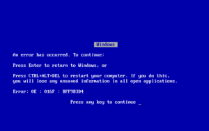 English: A Windows 9x/Me Blue Screen of Death.